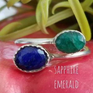 Sapphire & Emerald Ring Sterling Silver NEW